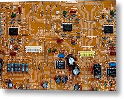 Circiruit Board Macro Metal Print by Amy Cicconi
