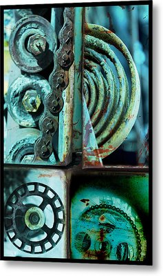 Circle Collage In Blue Metal Print by Fran Riley