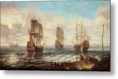 Metal Print featuring the painting Circle Of Sailing Ships by Jacob Adriaensz Bellevois