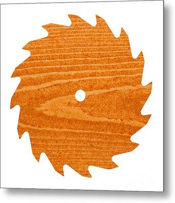 Circular Saw Blade With Pine Wood Texture Metal Print by Stephan Pietzko