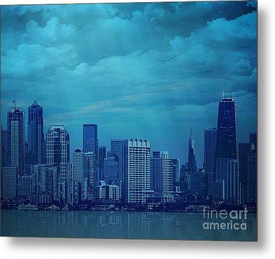 City In Blue Metal Print by Bedros Awak