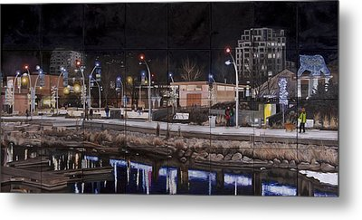 Metal Print featuring the painting City Lights by Bonnie Heather