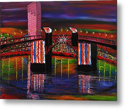City Lights Over Morrison Bridge 8 Metal Print by Portland Art Creations