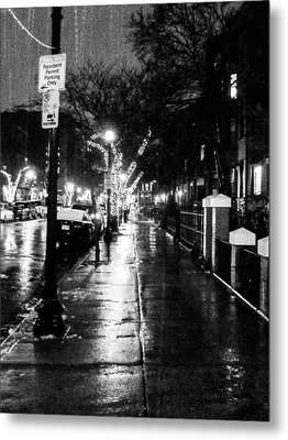 Metal Print featuring the photograph City Walk In The Rain by Mike Ste Marie