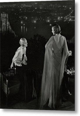 Claire Coulter And Avis Newcomb Wearing Evening Metal Print by Edward Steichen