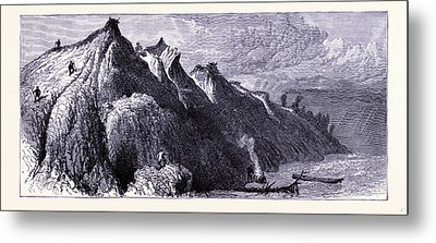 Clay Cliffs On The Shore Of Lake Michigan United States Metal Print by American School