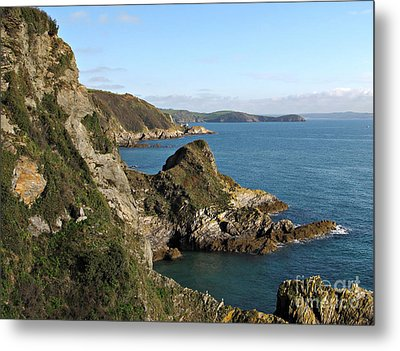 Cliffs In Cornwall Near Mevagissey Metal Print by Kiril Stanchev