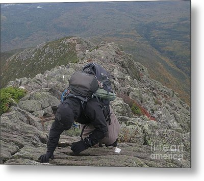Climbing Mt. Katahdin Metal Print