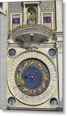 Clock Tower On Piazza San Marco Metal Print by Sami Sarkis