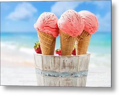 Close Up Strawberry Ice Creams Metal Print