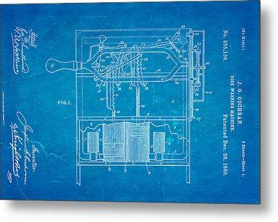 Cochran Dish Washing Machine Patent Art 1886 Blueprint Metal Print