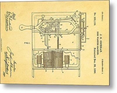 Cochran Dish Washing Machine Patent Art 1886 Metal Print