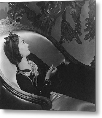 Coco Chanel Smoking Metal Print by Horst P. Horst