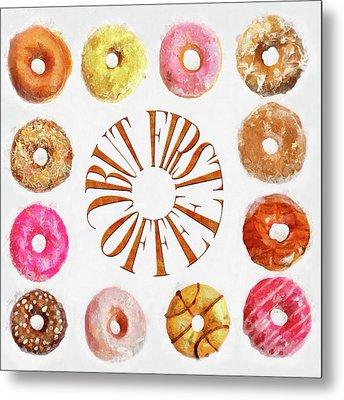 Coffee Donuts Metal Print by Cora Niele