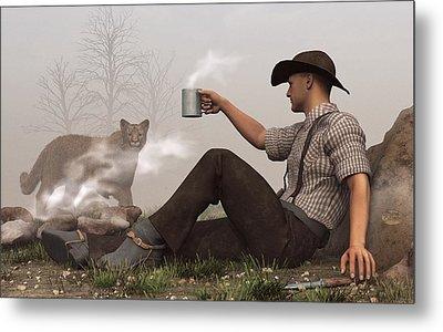 Coffee With A Cougar Metal Print by Daniel Eskridge