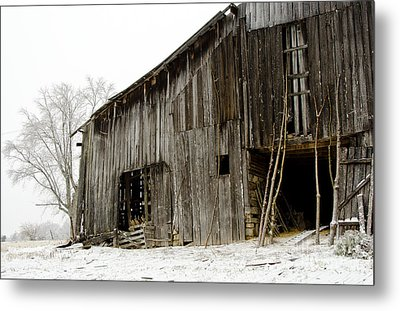 Cold Winter At The Barn  Metal Print by Wilma  Birdwell