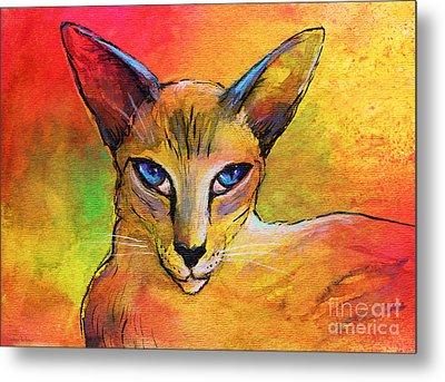 Colorful Oriental Shorthair Cat Painting Metal Print by Svetlana Novikova