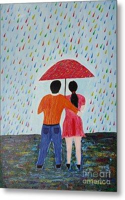 Colorful Rain Metal Print by Jnana Finearts