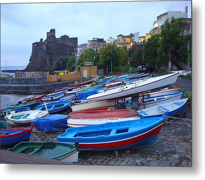 Colorful Wooden Fishing Boats Of Aci Castello Sicily With 11th Century Norman Castle Metal Print by Jeff at JSJ Photography