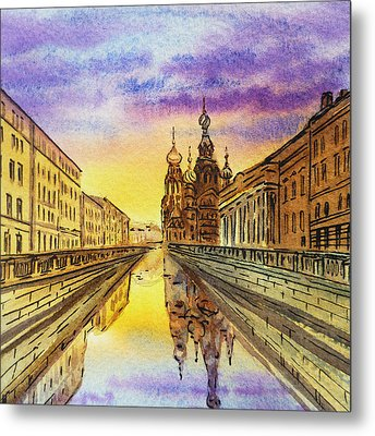 Colors Of Russia St Petersburg Cathedral I Metal Print by Irina Sztukowski