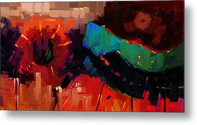 Complex 1 - Red Abstract Painting Metal Print by Kanayo Ede