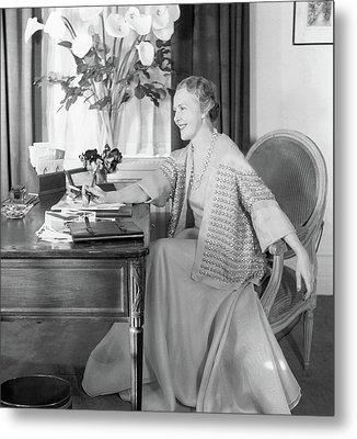 Comtesse Jean De Polignac At Her Desk Metal Print by Horst P. Horst