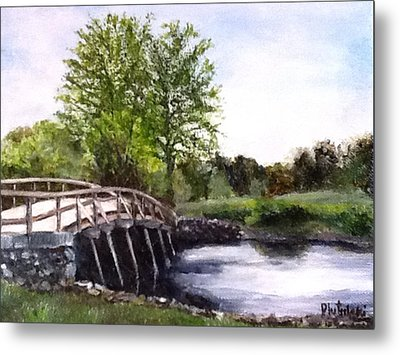 Metal Print featuring the painting Concord Bridge by Cindy Plutnicki