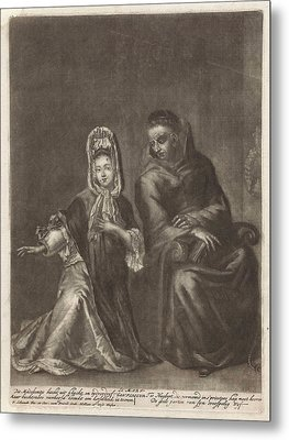 Confession Of Young Woman, Pieter Schenk Metal Print by Pieter Schenk (i) And Marcellus Laroon