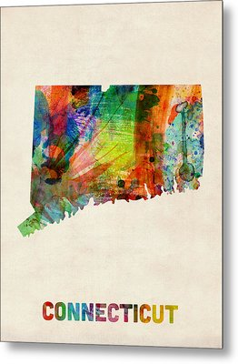 Connecticut Watercolor Map Metal Print by Michael Tompsett