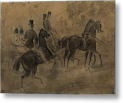Constantin Guys, French 1805-1892, An Open Carriage Metal Print by Litz Collection