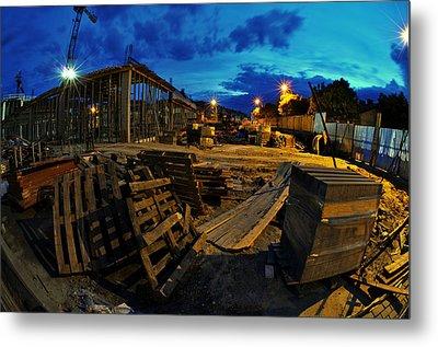 Construction Site At Night Metal Print by Jaroslaw Grudzinski