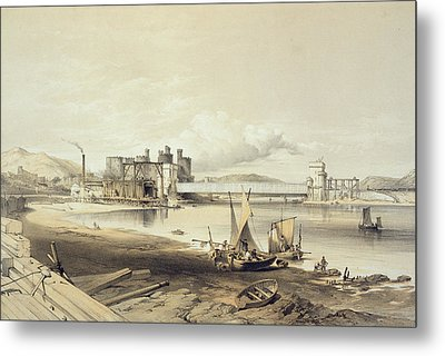 Conway Bridge, Construction Of Second Metal Print by George Hawkins