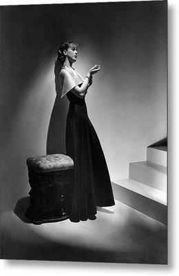 Cora Hemmet Wearing A Gown With Lame Revers Metal Print by Horst P. Horst
