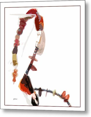 Coral And Black Glass Beads Metal Print by Gretchen Wrede