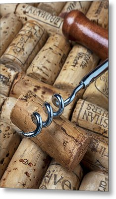 Corkscrew On Corks Metal Print by Garry Gay