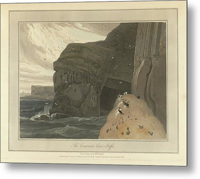 Cormorants Cave On The Cliffs Of Staffa Metal Print by British Library
