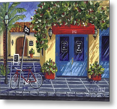 Metal Print featuring the painting Corner Store by Val Miller