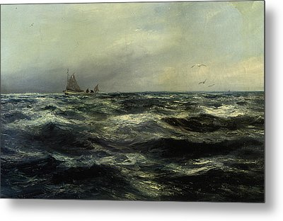 Cornish Sea And Working Boat Metal Print by Charles William Hemy