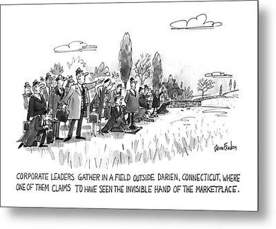 Corporate Leaders Gather In A Field Metal Print