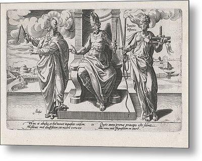 Corrupt Rulers And The Spanish Inquisition Commit Murder Metal Print by Dirck Volckertsz Coornhert And Adriaan De Weerdt And Hendrick Hondius I