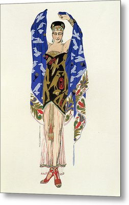 Costume Design For A Dancing Girl Metal Print by Leon Bakst
