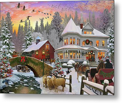 Metal Print featuring the drawing Counrty Christmas by David M ( Maclean )