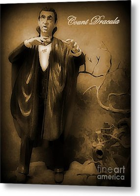 Count Dracula In Sepia Metal Print