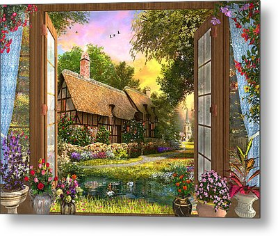 Metal Print featuring the drawing Country Cottage View by Dominic Davison