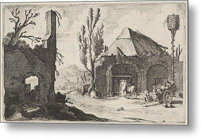 Country Road At A Ruin And An Inn, Gillis Van Scheyndel Metal Print by Gillis Van Scheyndel (i)
