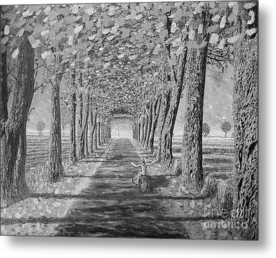 Metal Print featuring the painting Country.fall.bw by Viktor Lazarev