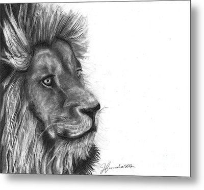 Metal Print featuring the drawing Courage Of A Lion by J Ferwerda