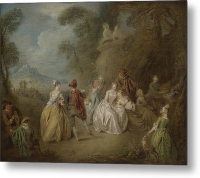 Courtly Scene In A Park, C.1730-35 Metal Print