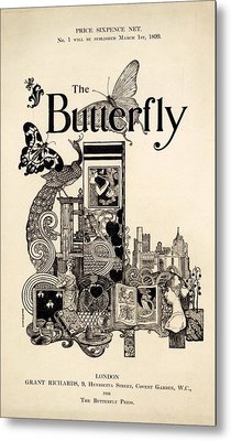 Cover Of The Butterfly Magazine Metal Print by English School
