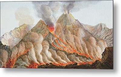 Crater Of Mount Vesuvius From An Metal Print by Pietro Fabris